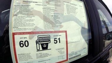 Gas Mileage Sticker